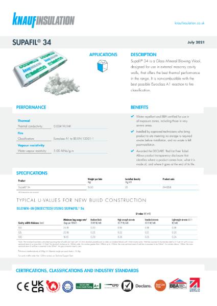 Knauf Insulation Supafil® 34 Cavity Wall Insulation Data Sheet