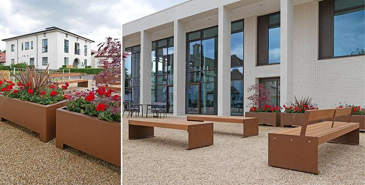 Corten effect seating and planters for independent boarding school