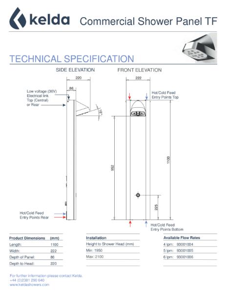Kelda Showers - Technical Specification - Commercial Shower Panel TF