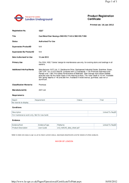 AATi certificate for product ref: SN3/HDLT/140 & SN3/HDLT/280