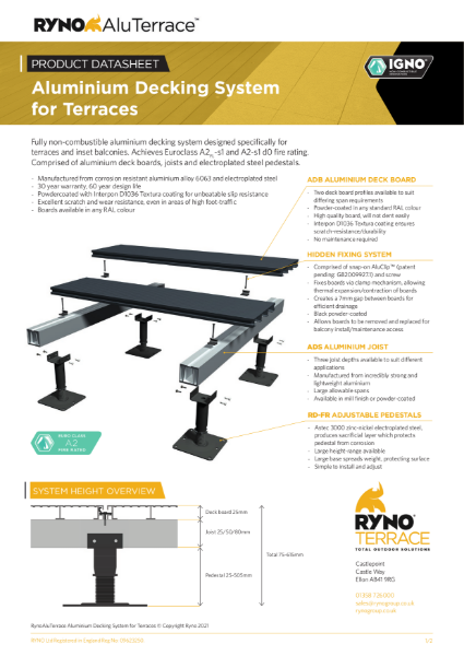 Datasheet - Aluminium Decking System for Terraces