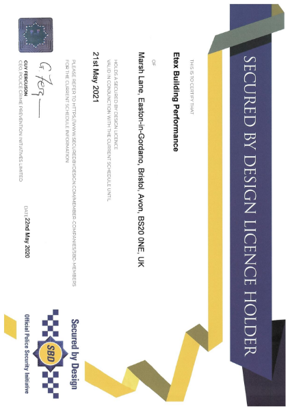 Etex SBD Certificate for Securtex - Siniat