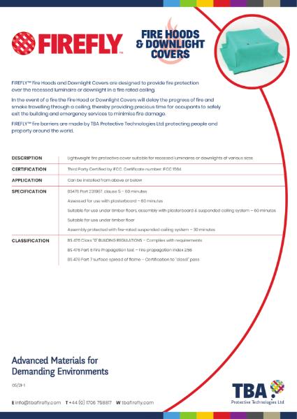 FIREFLY™ Fire Hoods & Downlight Covers - Data Sheet
