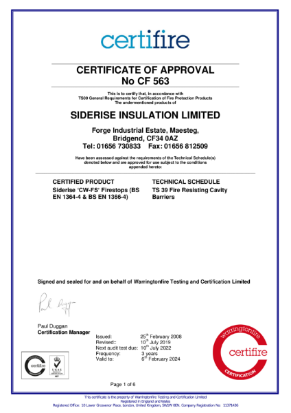 Certifire Certificate CF563 Fire Resisting Cavity Barriers