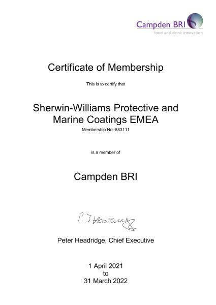 Sherwin-Williams standards certification - Campden BRI