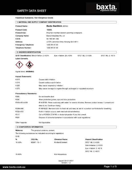 Baxta Prep and patch safety data sheet.