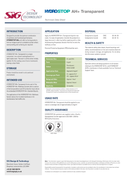 Hydrostop AH+ Transparent Datasheet