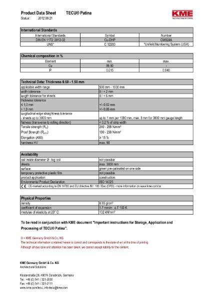 KME TECU Patina Copper Datasheet