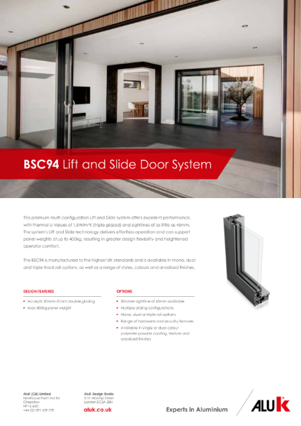 AluK BSC94 Lift and Slide Door System Datasheet