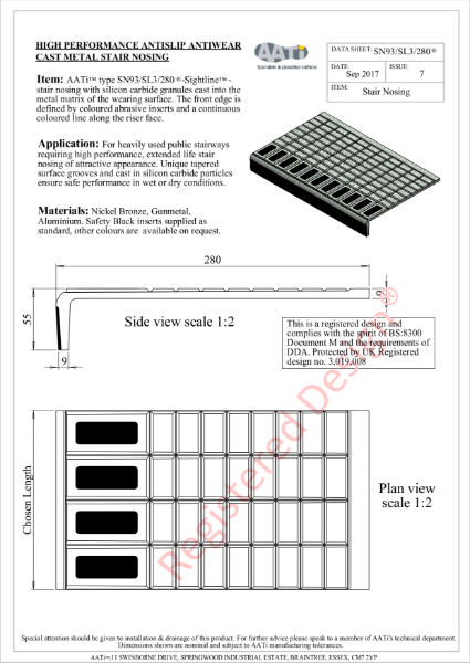 Stair Nosing Anti-slip type SN93/SL3/280® Cast metal