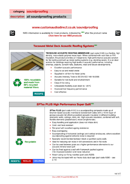 Summary - all Soundproofing & Acoustic Insulation Products