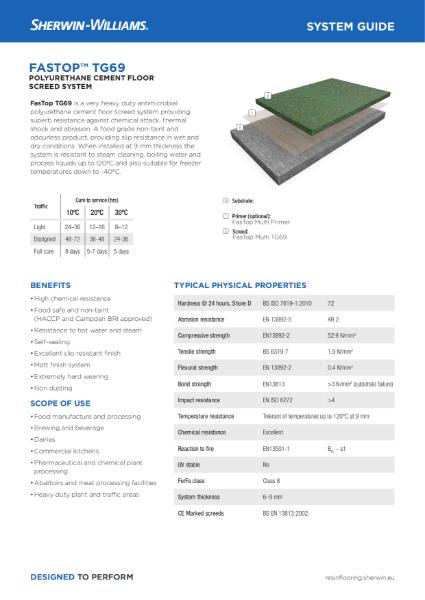Resin flooring FasTop TG69 screed system