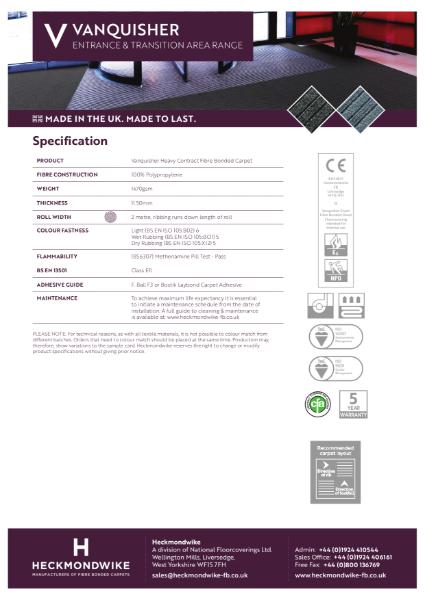 Heckmondwike - Vanquisher - Specification Sheet