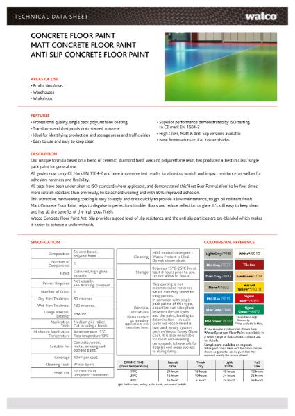 Data Sheet: Watco Concrete Floor Paint