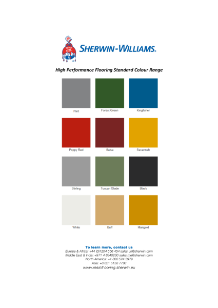 Colour chart - Epoxy coatings and self smoothers