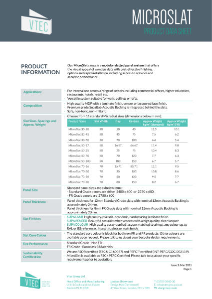 MicroSlat - Data Sheet for the cost effective slatted wood system