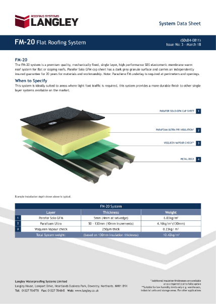 FM-20 Flat Roofing System Data Sheet