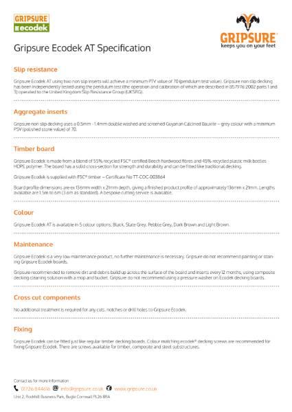Decking Tech sheet - Gripsure Ecodek AT