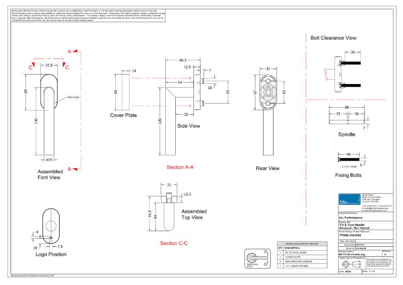BLU™ - TTH50 Tilt And Turn Window Handle CAD