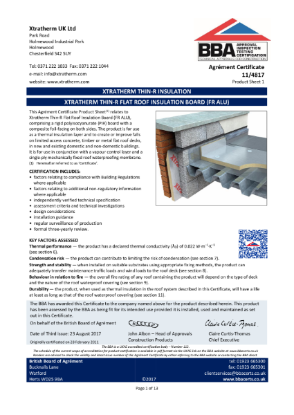 11/4817 Xtratherm Thin-R Flat Roof Insulation Board (FR ALU) (Product Sheet 1)