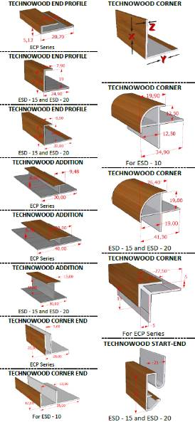 Technowood Natural Veneer Coated Aluminium Finishing & Corner Profiles