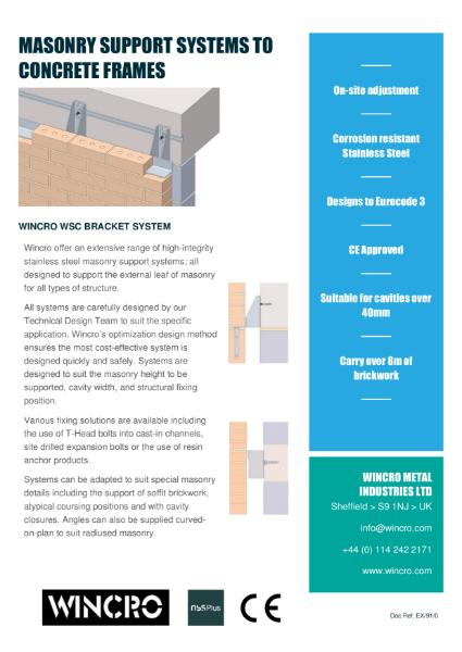 Brick Support System for Concrete Frames