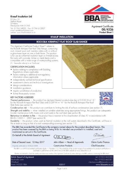08/4526 Rocksilk® Krimpact Flat Roof Slab Range