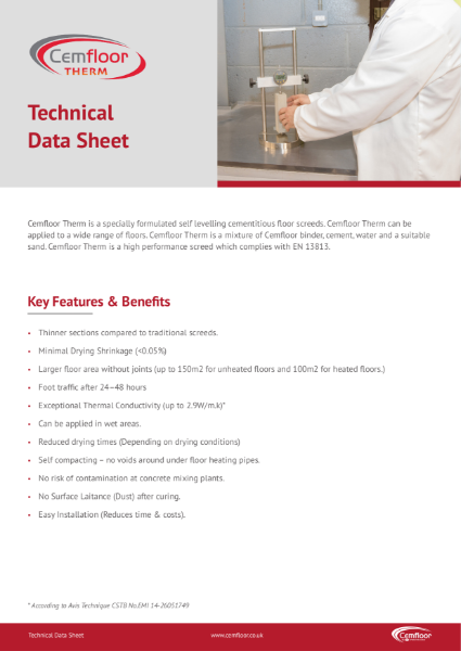 Cemfloor Therm Technical Data Sheet