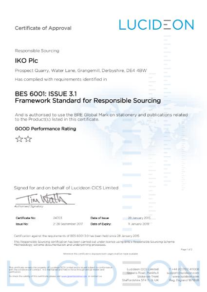 BES 6001 Certificate (Grangemill)