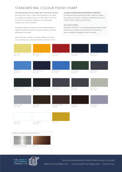 The Safety Letterbox Company - Standard RAL Colour Chart
