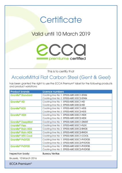 ECCA Premium - Certificate ArcelorMittal Decosteel