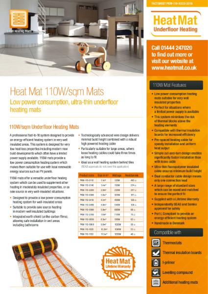 110W Underfloor Heating Mat Datasheet