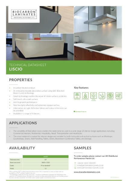 BioCarbon Laminates Liscio datasheet