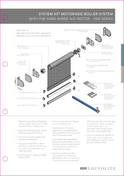 Roller System 45® Motorised Roller System Technical Specification