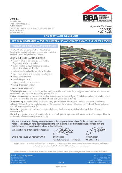 10/4753 JUTA EASY MEMBRANES — FOR USE IN WARM NON-VENTILATED AND COLD VENTILATED ROOFS