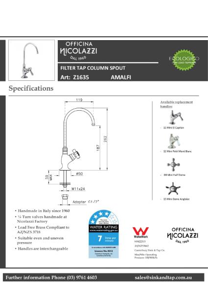 Z1635 Amalfi technical specification