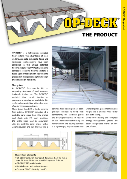 OP-DECK - Insulated and load bearing floors and roofs for car parking roofs, green roofs and large spanning concrete floors
