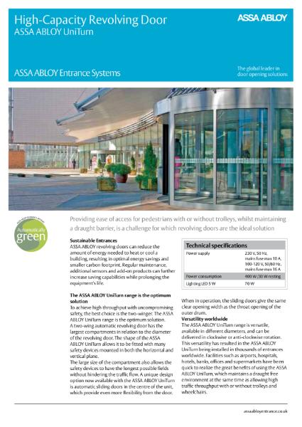 Revolving Door High Capacity - ASSA ABLOY UniTurn 2-Wing