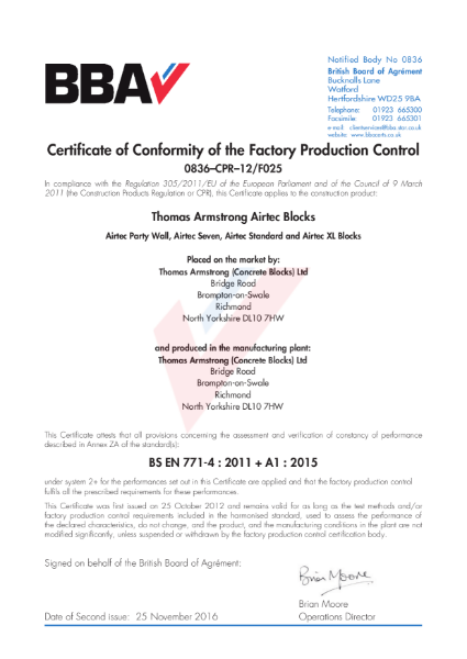 771-4/2011 Certificate of Factory Production Control