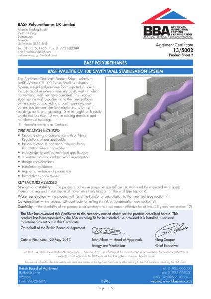 13/5002_2 BASF WALLTITE CV 100 CAVITY WALL STABILISATION SYSTEM