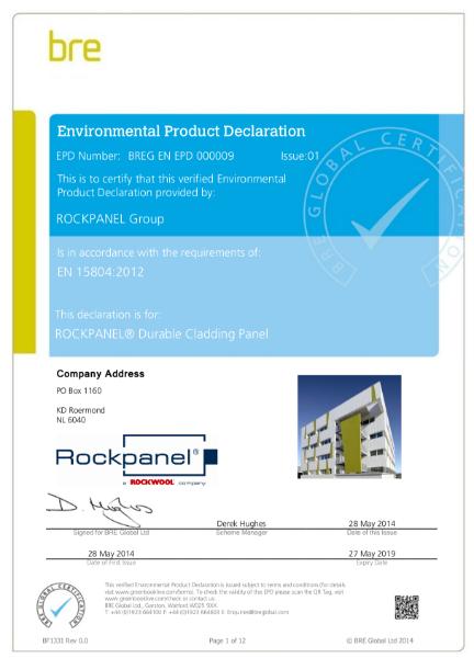 EPD EN 15804:2012 Certificate