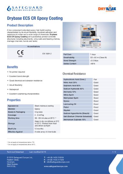 Drybase ECS Epoxy Coating - Data Sheet