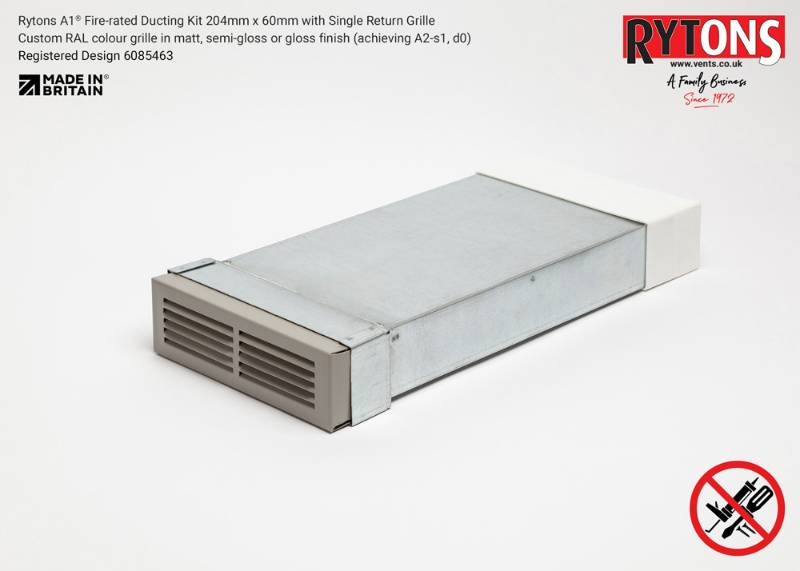 Rytons A1 Fire-rated Straight Ducting Kit 204 x 60 mm with Single Air Brick Grille