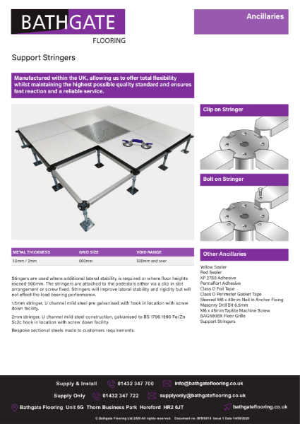 Raised Access Panel Support Stringers