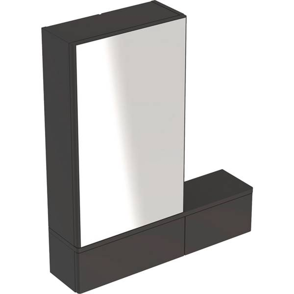 Selnova Square mirror cabinet with one door and two pull-down doors