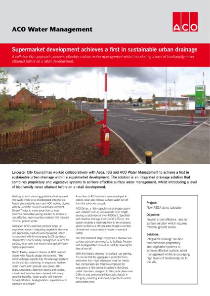 Supermarket development achieves a first in sustainable urban drainage