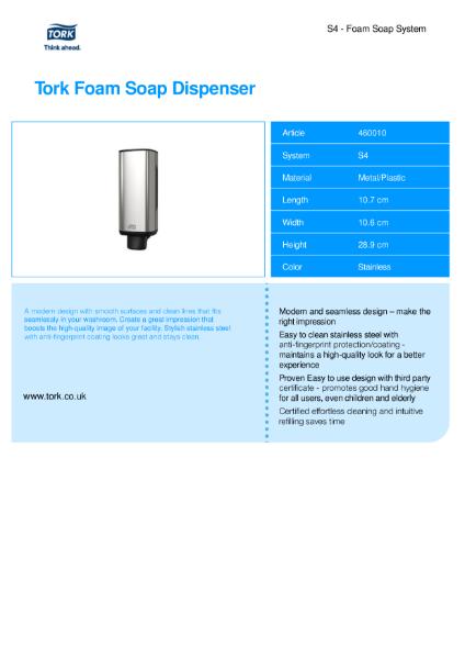 Tork Foam Skincare dispenser - manual dispenser Image design