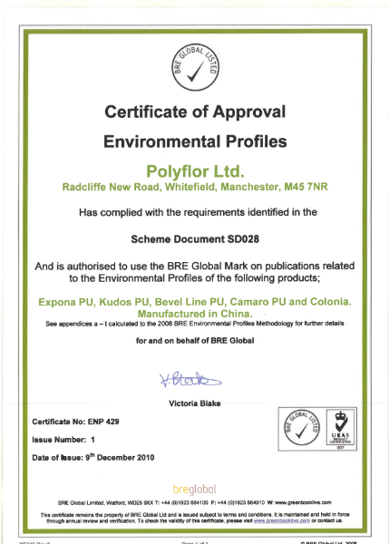 Certificate of Approval Environmental Profiles