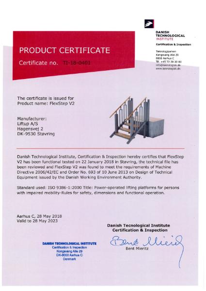 FlexStep Product Certificate