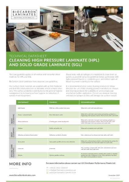 BioCarbon Laminates Cleanability datasheet